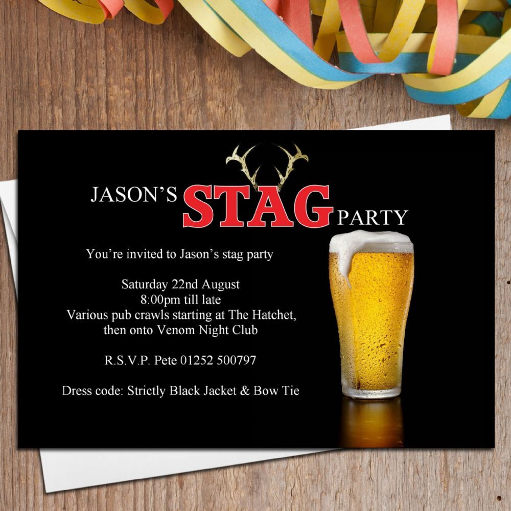 10 Personalised Stag Night Party Invitations N24